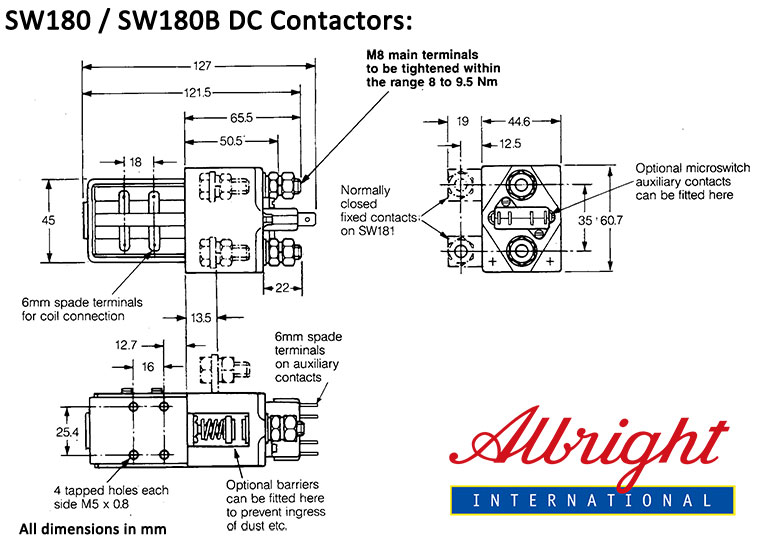 SW180_SW180B_dimension noco shop albright dc contactor, model sw180 and sw180b, spst albright contactor wiring diagram at bayanpartner.co