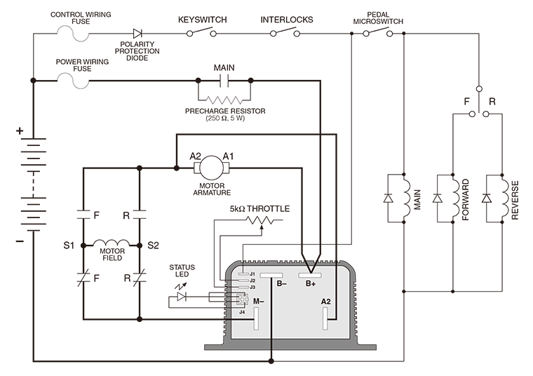 noco shop - curtis programmable dc series motor controller, model, Wiring diagram