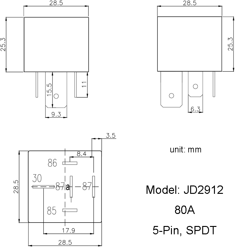 JD2912/80A | 5-Pin SPDT Bosch Type Automotive DC Relay on 2005 ford escape fuse panel diagram, 5l3t aa relay diagram, relay parts, horn relay diagram, fan relay diagram, 8 pin relay diagram, relay connector diagram, relay lens diagram, freightliner tail light diagram, block diagram, relay schematic, relay switch, relay circuit, relay modules diagram, ignition relay diagram, relay pump diagram, 12 volt relay diagram, 1999 pontiac bonneville parts diagram, light relay wire diagram, power relay diagram,