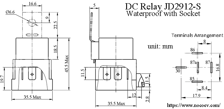 jd2912s sealed waterproof bosch type 5pin dc relay