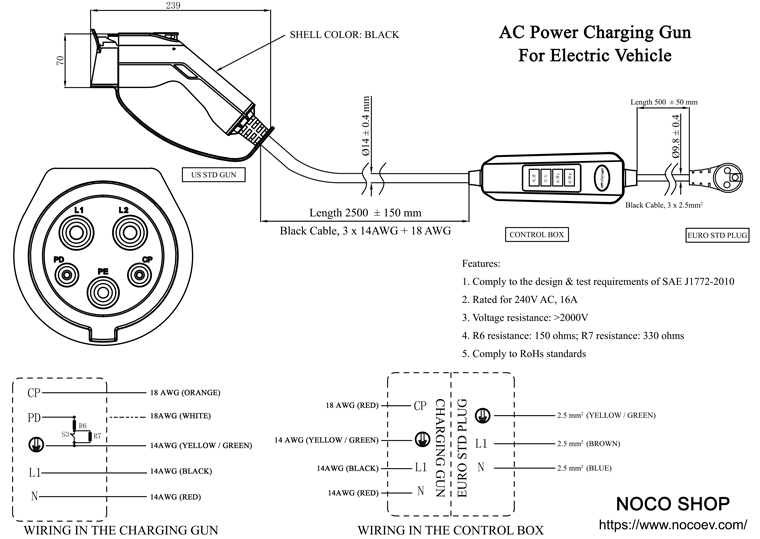 Sae J1772  Iec Type 1  J Plug  Charging Gun With Control
