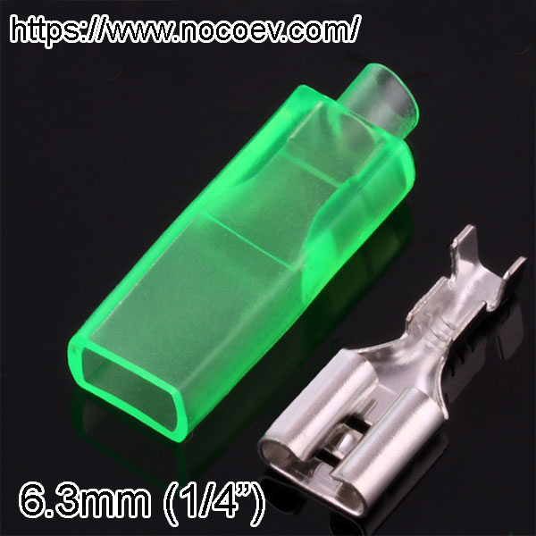 1/4 inch (6.3mm) Spade Connectors, male and Female, with plastic protector
