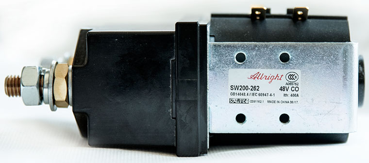 Albright / CURTIS DC Contactor / Solenoid, Model SW200-262, Zapi Model: B4SW31, 48V - 400A