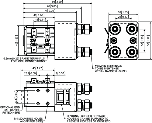 SW82-157P DC Contactor Dimensions
