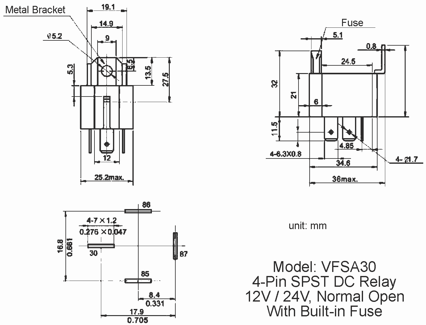 dimension diagram, 12v and 24v automotive dc relay, 30a spst 4-pin dc