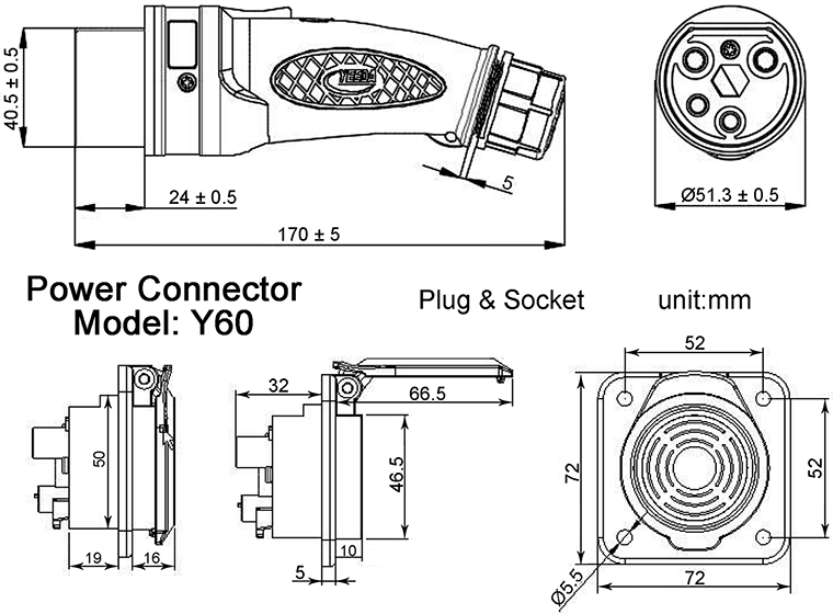 YEEDA Y60 IP67 Waterproof Connector and Socket Dimensions